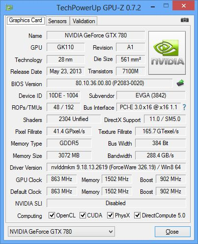 EVGA GeForce GTX 780, GPU-Z