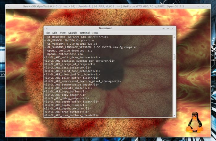 GpuTest, FurMark module - Linux