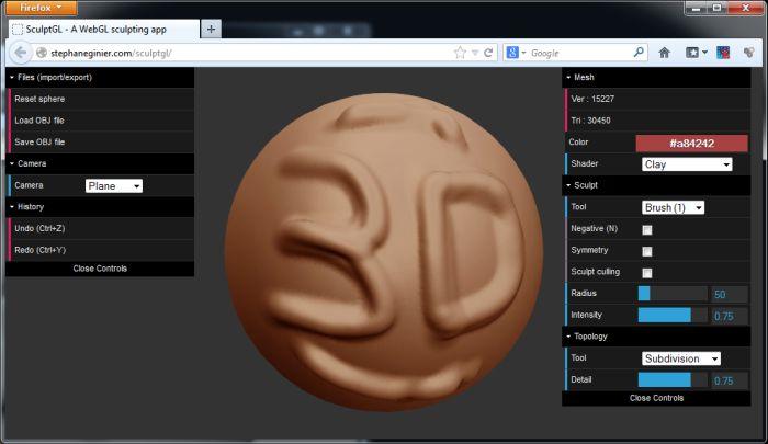 SculptGL: a WebGL 3D Sculpting Utility