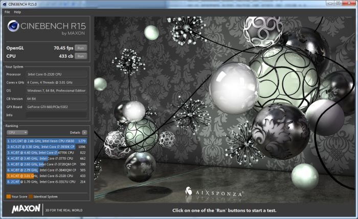 Cinebench R15, CPU test