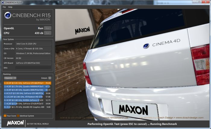 Cinebench R15, GPU / OpenGL test