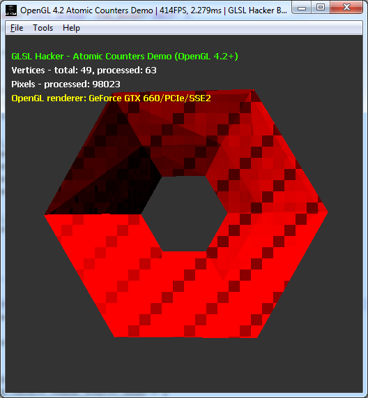 OpenGL 4.2 atomic counters, number of processed pixels