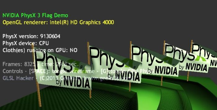 PhysX 3 Cloth/Flag Demo, Intel HD Graphics 4000