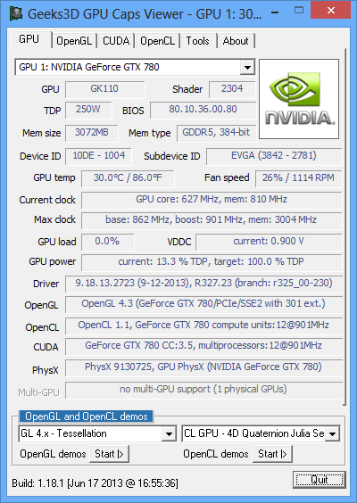NVIDIA GeForce Driver, GeForce GTX 780 and GPU Caps Viewer