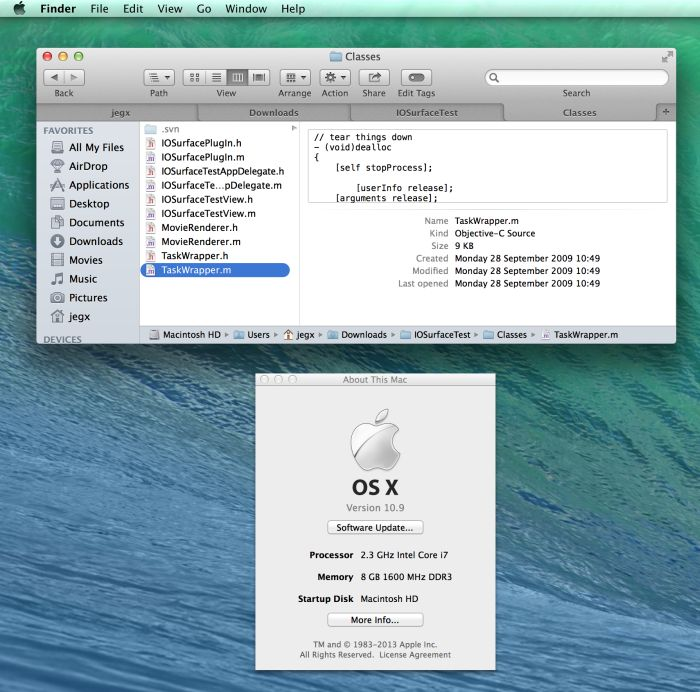 Mac OS X 10.9 Mavericks, Finder with multiple tabs