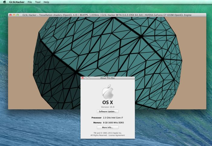 Mac OS X 10.9 Mavericks, GLSL Hacker and OpenGL 4.1 info