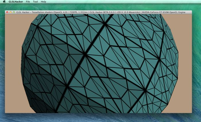GLSL Hacker 0.6.0 - OpenGL 4 tessellation under Max OS X 10.9 Mavericks