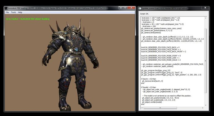 GLSL Hacker 0.6.0 - Autodesk FBX plugin test