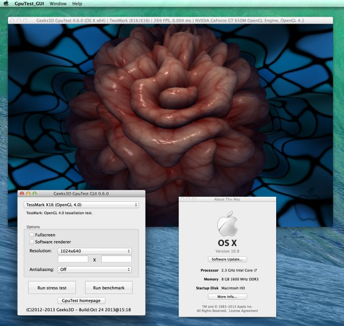 GpuTest 0.6.0, Mac OS X 10.9 and TessMark