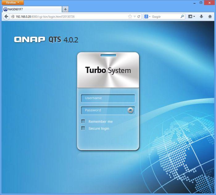 Qnap TS-221 NAS, QTS 4.0 admin panel