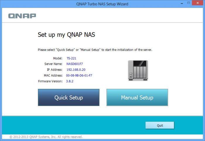 Qnap TS-221 NAS, QNAP Qfinder