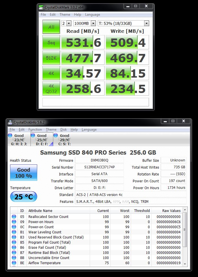 Samsung SSD 840 PRO 256GB - Crystal Disk Mark