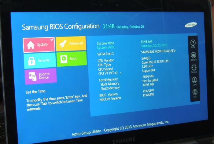 Samsung Ultrabook NP740U3E, BIOS menu