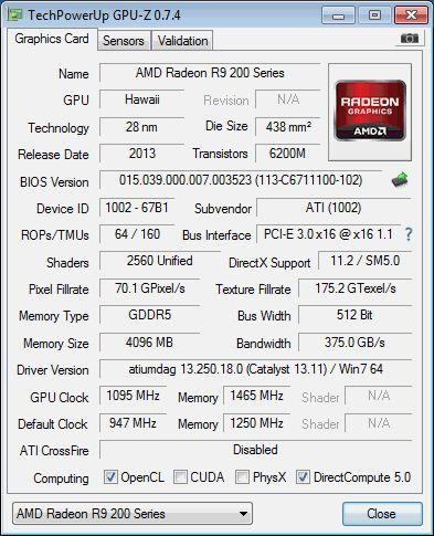 AMD Radeon R9 290, GPU-Z