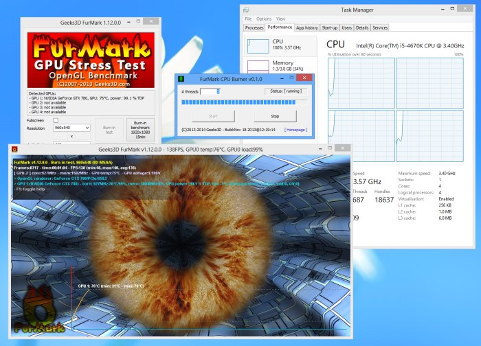 FurMark v1.12.0 and the CPU burner utility