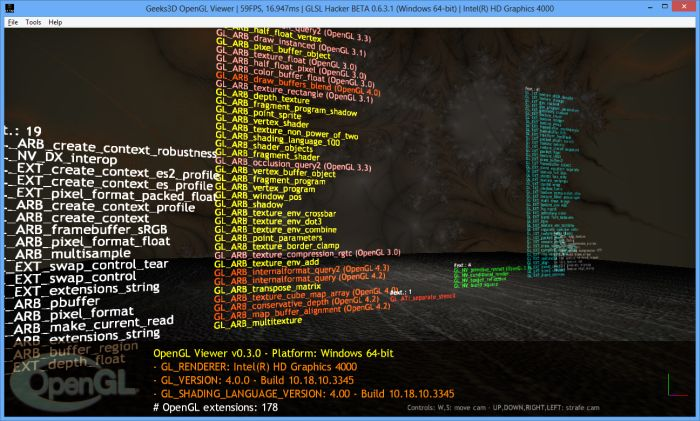 GLSL Hacker, OpenGL Viewer demo, Intel HD Graphics 4000