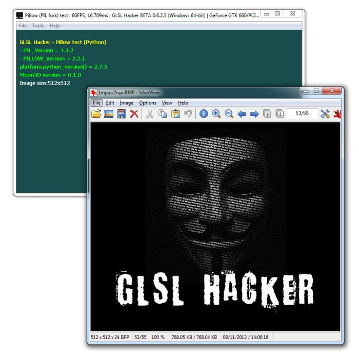 GLSL Hacker, Pillow (PIL fork) image loading, Python