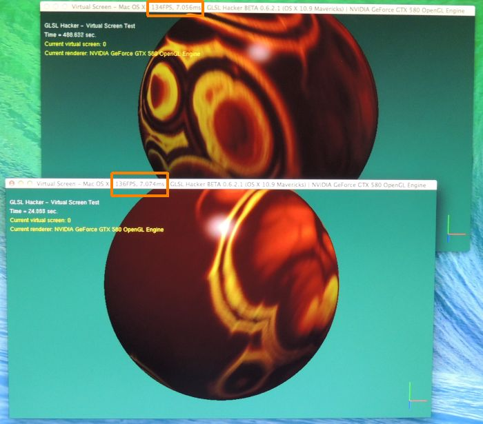 GLSL Hacker, virtual screen demo under Mac OS X Mavericks