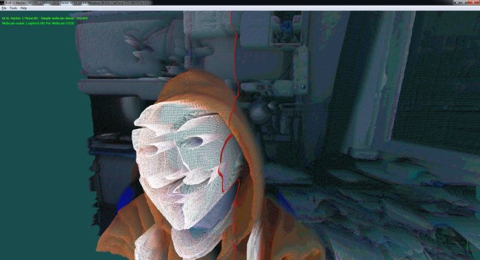 GLSL Hacker, webcam, displacement ma