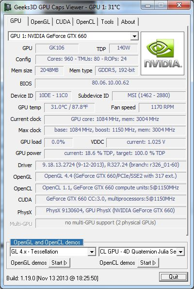 GPU Caps Viewer 1.19.0, GeForce GTX 660