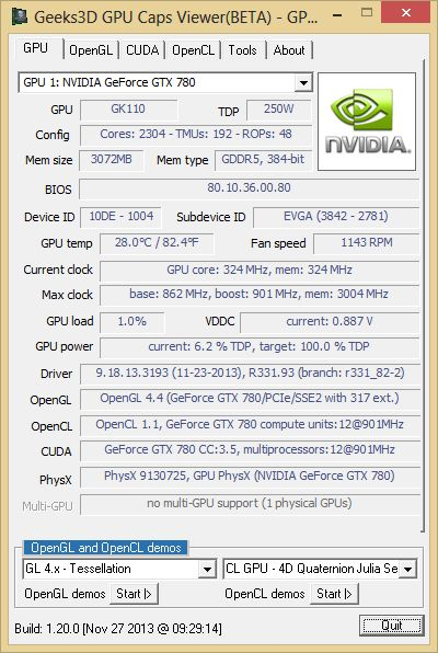 NVIDIA R331.93 + GPU Caps Viewer + GTX 780