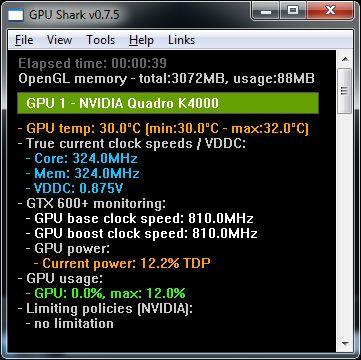 GPU Shark 0.7.5, NVIDIA Quadro K4000