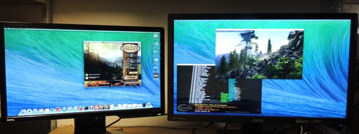 Hackintosh GeForce GTX 580 + Radeon HD 5770, Unigine heaven + GLSL Hacker