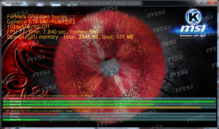 MSI Kombustor, FurMark stress test
