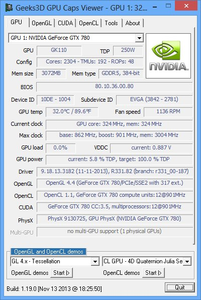 NVIDIA R331.82 WHQL, GPU Caps Viewer, GeForce GTX 780