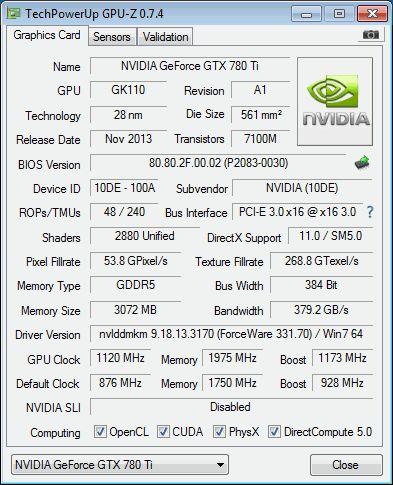 NVIDIA GeForce GTX 780 Ti, GPU-Z