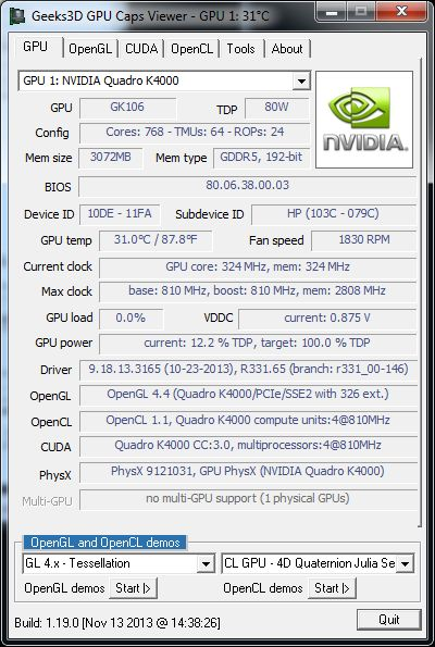 GPU Caps Viewer 1.19.0, NVIDIA Quadro K4000