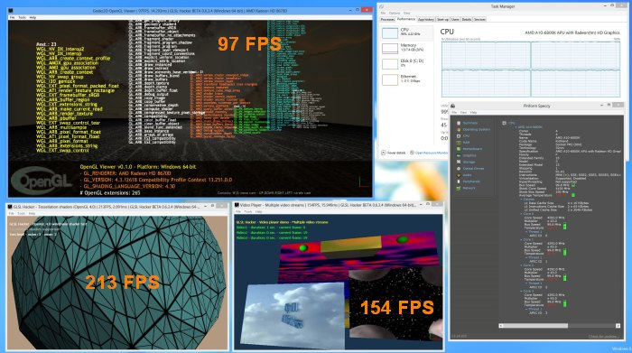 AMD A10-6800K, GLSL Hacker OpenGL stress test