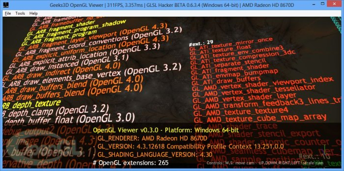 AMD A10-6800K, GLSL Hacker, OpenGL viewer