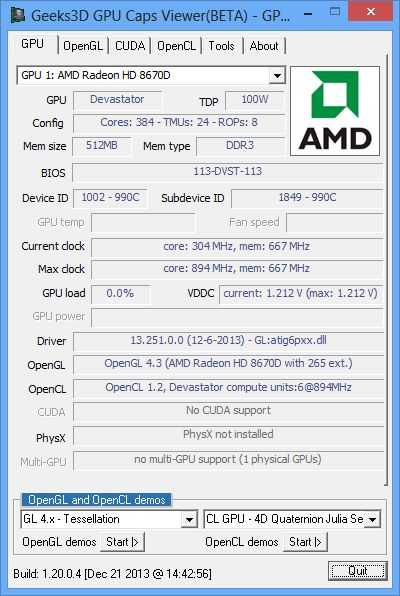 GPU Caps Viewer-Z 1.20.0.4, AMD A10-6800K, Radeon HD 8670D
