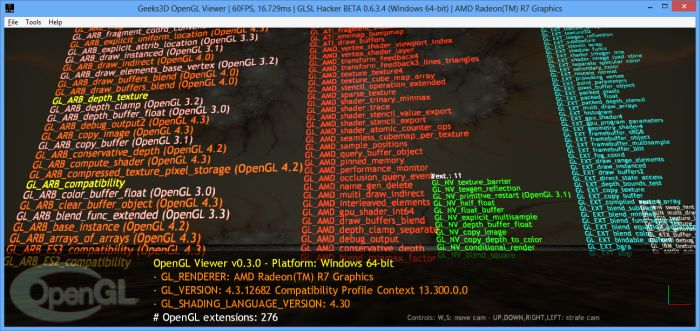 AMD Kaveri APU A10-7850K, GLSL Hacker OpenGL Viewer demo
