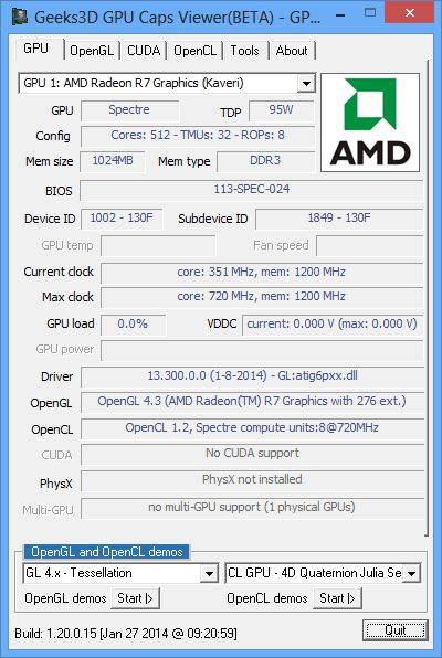 AMD Kaveri APU A10-7850K, GPU Caps Viewer