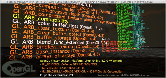 NVIDIA R331.38 under Linux, GLSL Hacker OpenGL Viewer demo