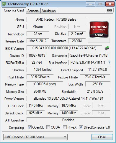 AMD Radeon R7 265 2GB, GPU-Z
