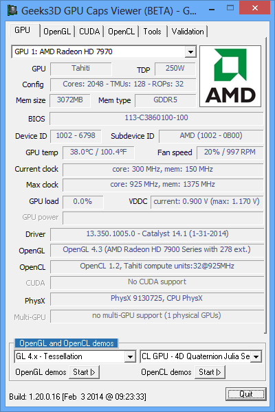 AMD Catalyst 14.1, Radeon HD 7970 and GPU Caps Viewer