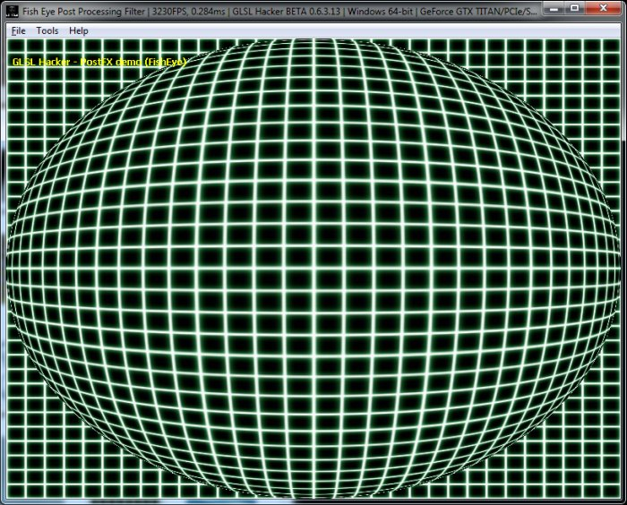 (GLSL Shader Library) Fish Eye Post Processing Filter, Dome Distortion
