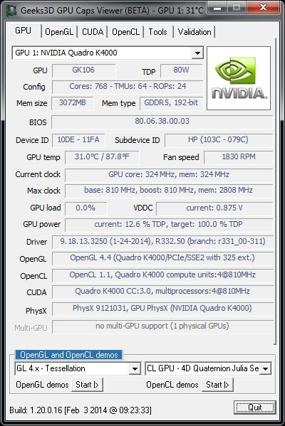 NVIDIA R332.50, Quadro K4000 + GPU Caps Viewer