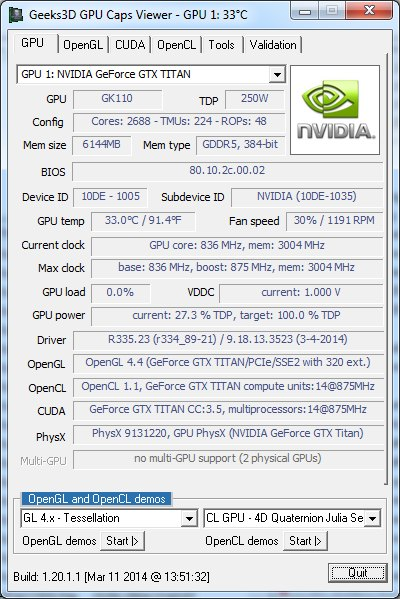 GPU Caps Viewer 1.20.1 - GPU panel