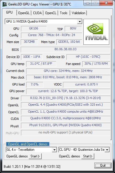 GPU Caps Viewer 1.20.1, R332.76 + Quadro K4000