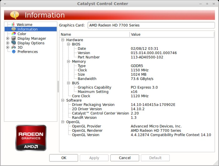 AMD Catalyst 14.4 - Linux - Control Center