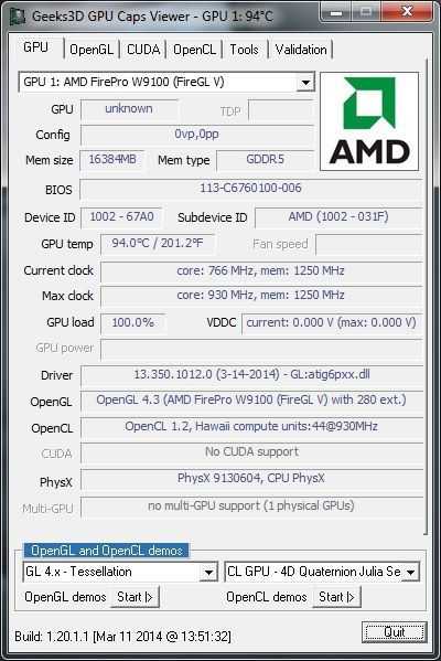 AMD FirePro W9100, GPU Caps Viewer