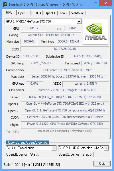 ASUS GeForce GTX 750, GPU Caps Viewer