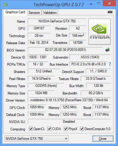 ASUS GeForce GTX 750, GPU-Z