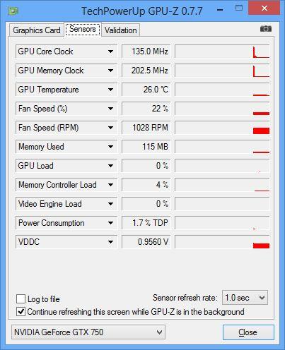 ASUS GeForce GTX 750, GPU-Z hardware sensors