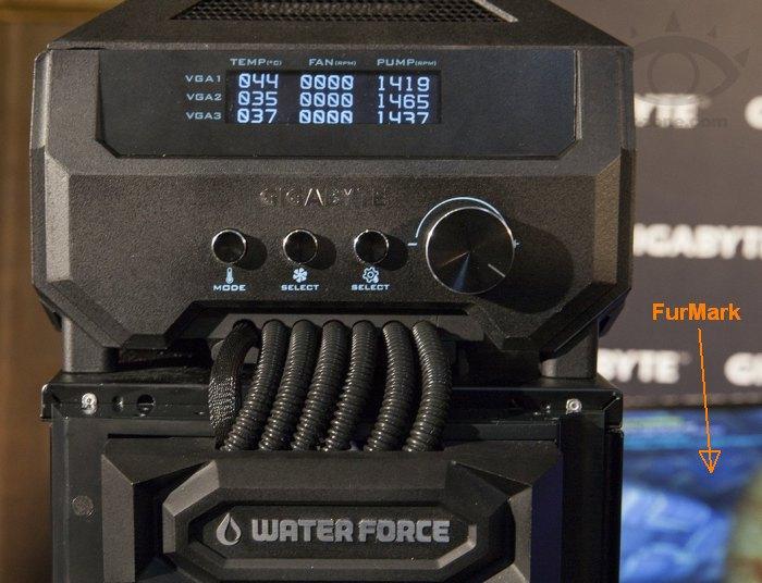 Gigabyte WaterForce GPU cooler - stressed by FurMark