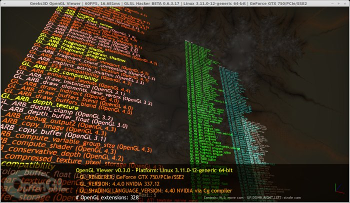 NVIDIA R337.12 for Linux, GTX 750, GLSL Hacker